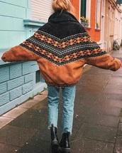 jacket,vintage,wheat,brown,brown jacket,aztec,navajo,tribal pattern,bomber jacket,suede jacket,coat,mens coat,carhartt,brand: carhartt,seude,faux leather,vintage jacket,vintage coat