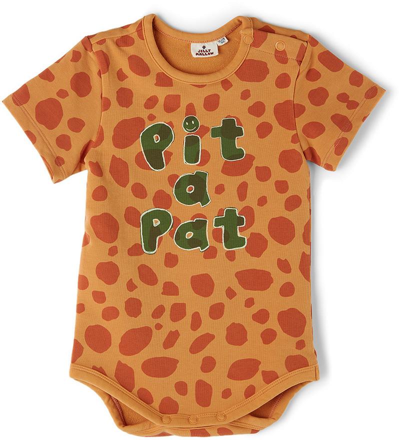 Jellymallow Baby Orange Leopard 'Pit A Pat' Bodysuit in brown