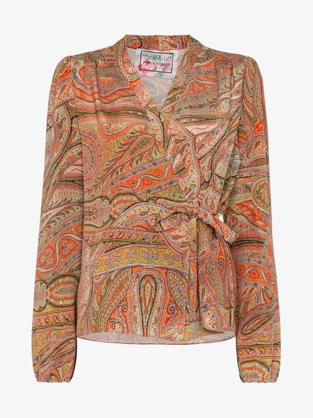 By Walid Haidee paisley wrap silk blouse