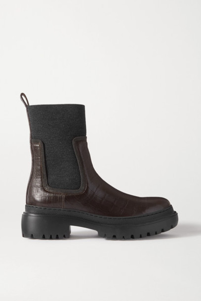 Brunello Cucinelli - Bead-embellished Cashmere-trimmed Croc-effect Leather Chelsea Boots - Brown