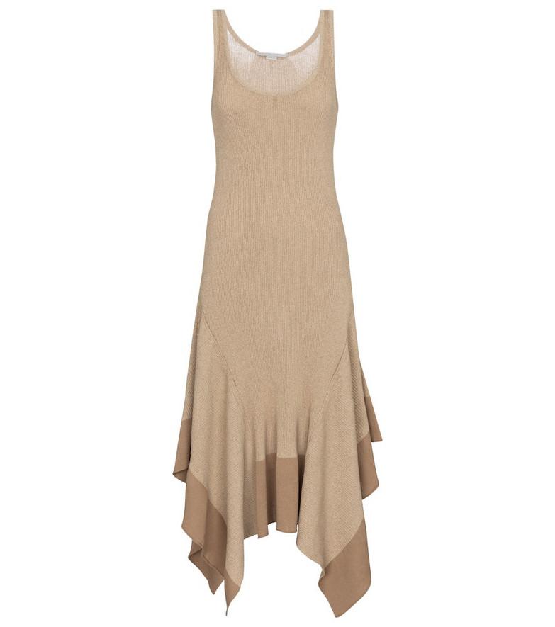 Stella McCartney Asymmetric cotton-blend midi dress in beige