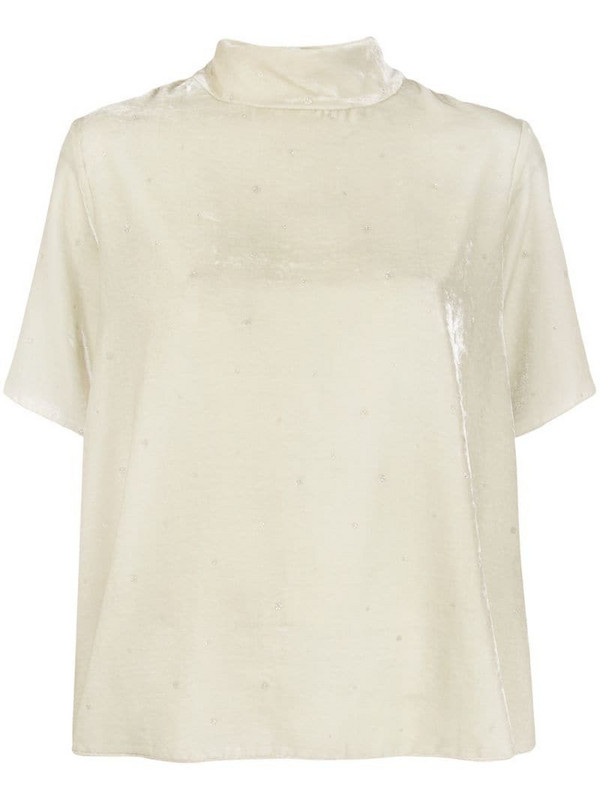 Forte Forte boxy fit funnel neck top in neutrals