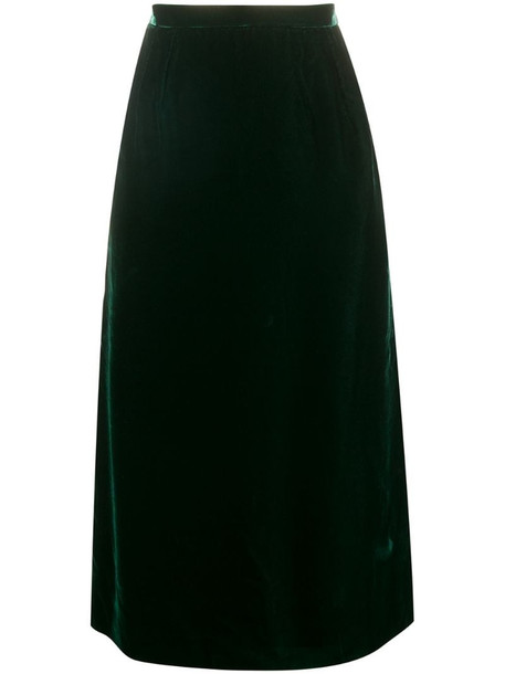 Valentino Pre-Owned 1980's gathered straight skirt in green