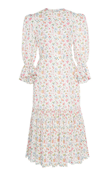 The Vampire's Wife Floral Song Bird Printed Cotton Maxi Dress