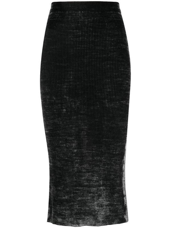 Diesel acid wash midi skirt in black