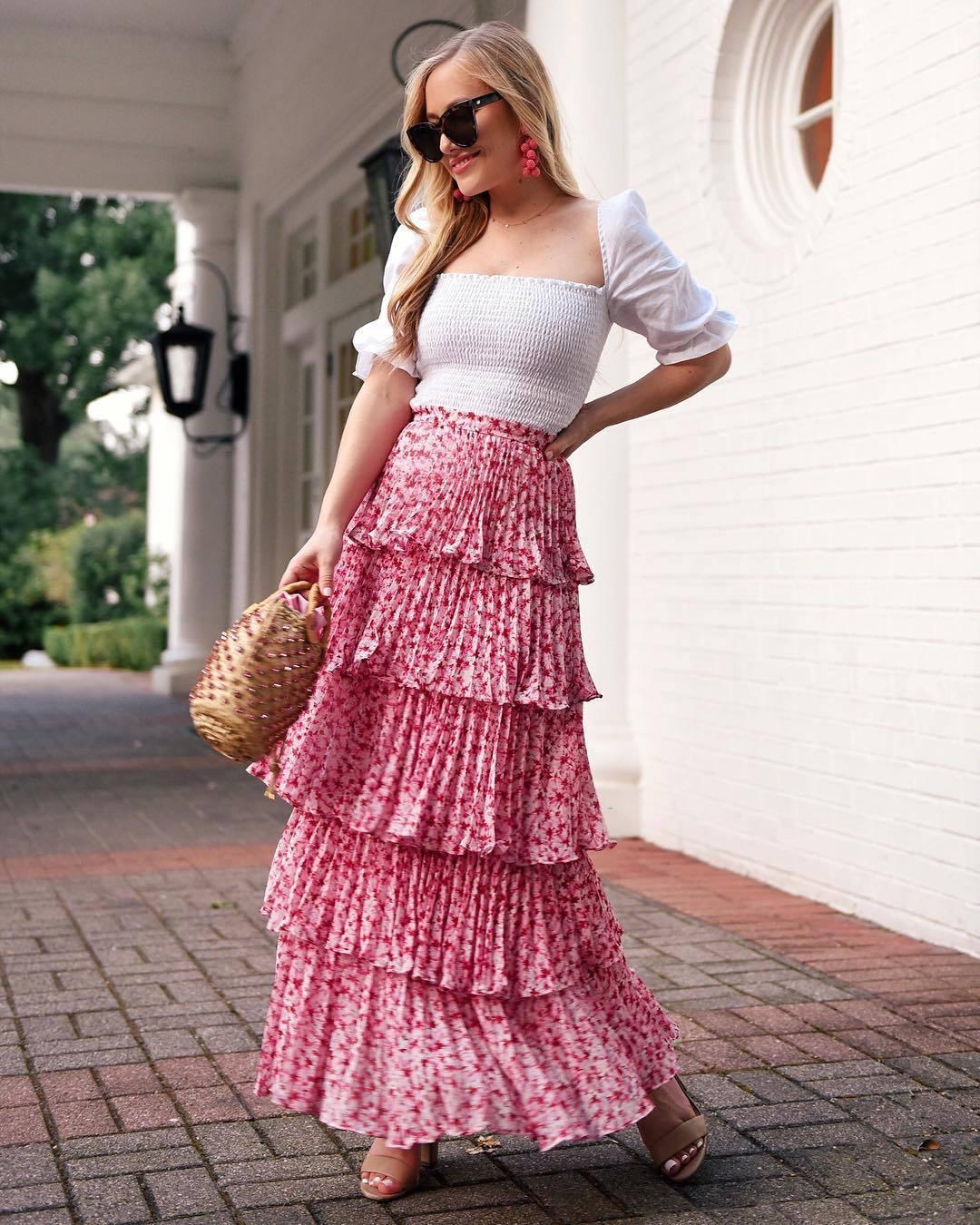 skirt maxi skirt ruffle floral skirt sandal heels woven bag white top