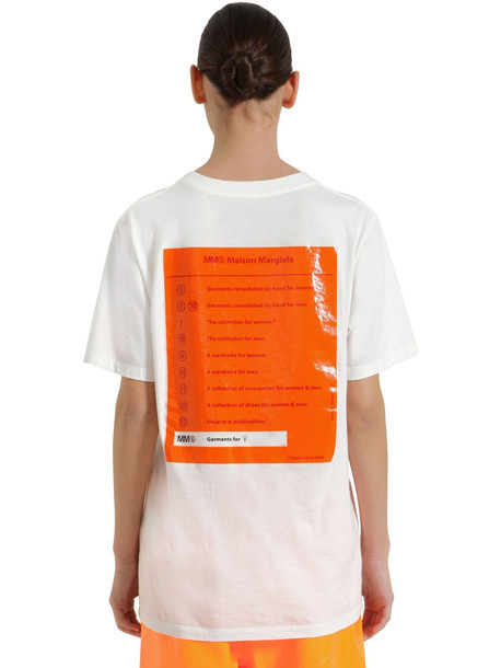 MM6 MAISON MARGIELA Rubber Logo Print Cotton Jersey T-shirt in white