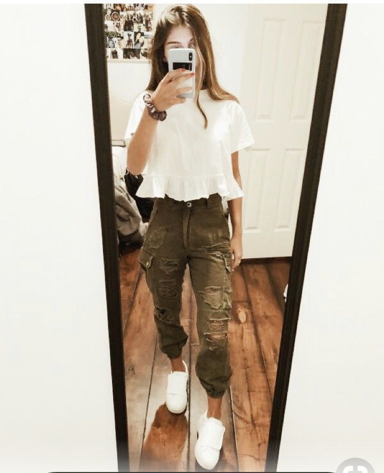 pants joggers jeans cargo pockets utility army green ripped jeans pretty blouse white loose ruffle cropped shirt cargo pants