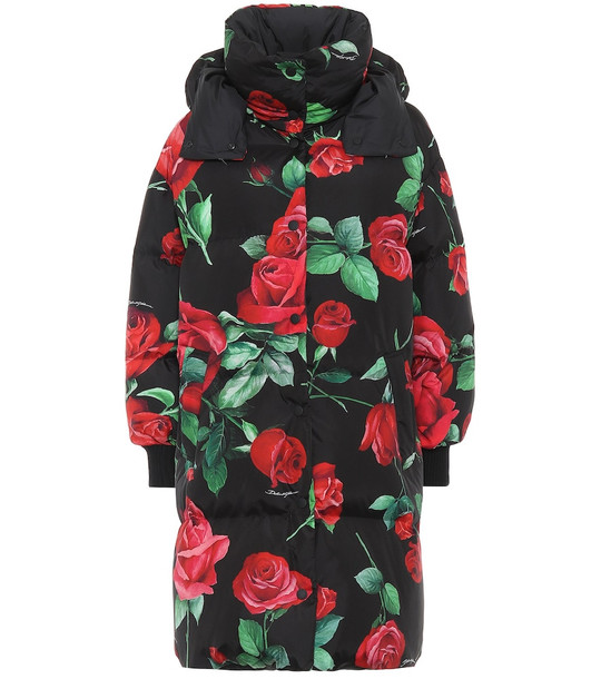 Dolce & Gabbana Rose-print down coat in black