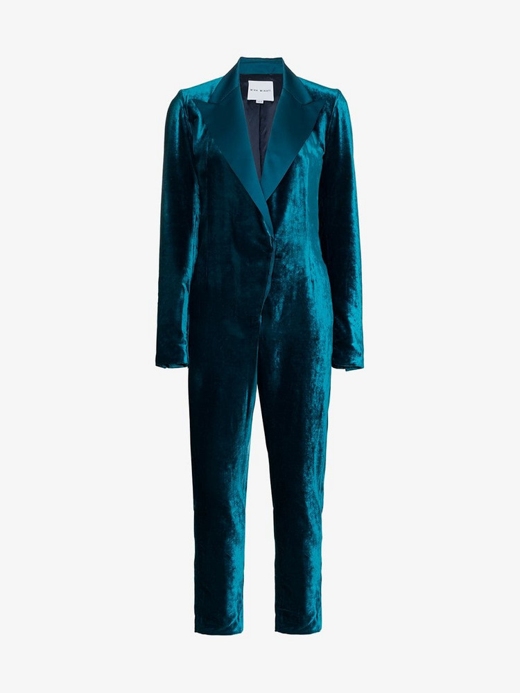 Mira Mikati rear embroidered velvet jumpsuit in green