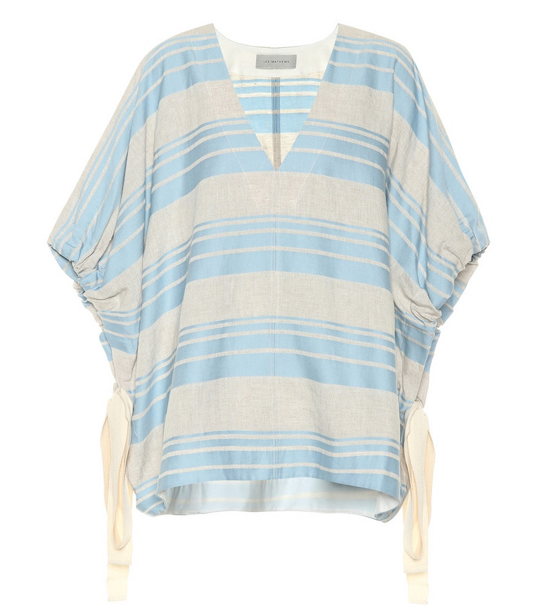 Lee Mathews Tilda striped linen and cotton top in blue