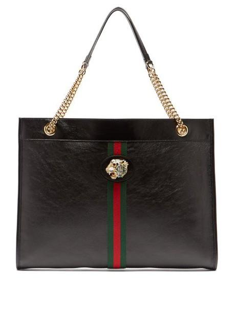 Gucci - Rajah Web Striped Leather Tote Bag - Womens - Black Multi