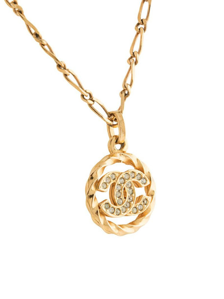 Chanel Pre-Owned CC rhinestone-embellished chain necklace in gold