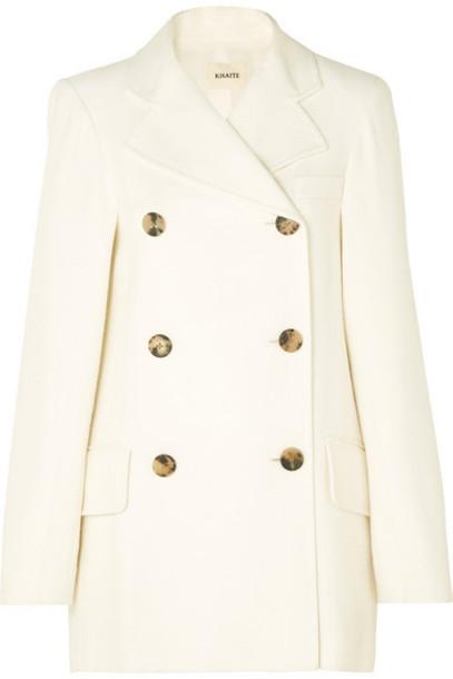Khaite - Clara Double-breasted Woven Coat - Ivory