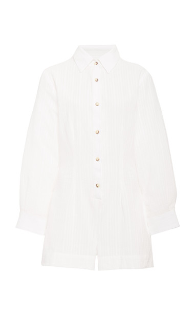 Anemone The Lauren Button Up Romper In Stripe Cotton Linen Crepe in white