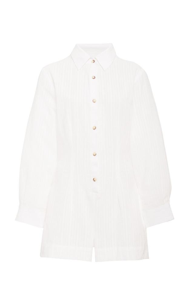 Anemone The Lauren Button Up Romper In Stripe Cotton Linen Crepe in white