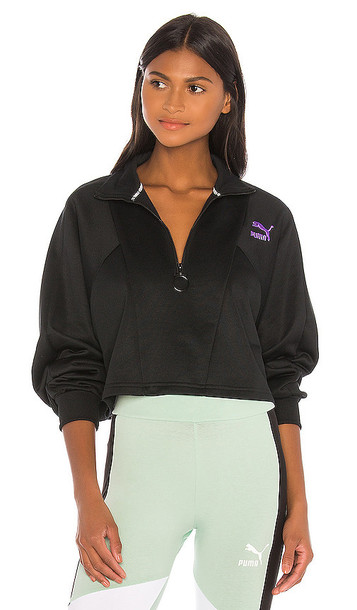 Puma TFS Cropped Half Zip Sweatshirt in Black