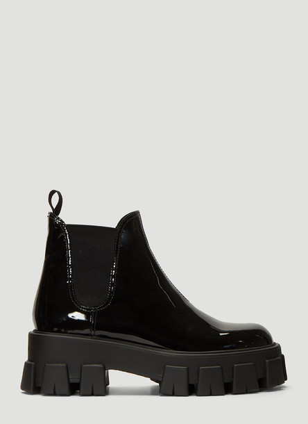Prada Patent Leather Beatle Boots in Black size EU - 39