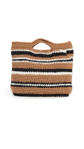 Caterina Bertini Crochet Tote in black / brown / white