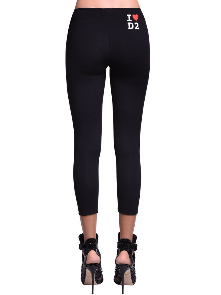 DSQUARED2 Printed Cotton Jersey Leggings in black