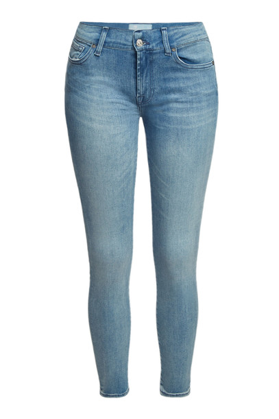 7 for all Mankind Cropped Skinny Jeans  in blue