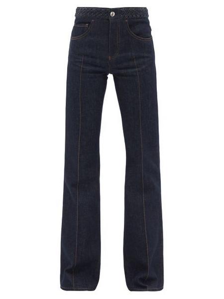 Chloé Chloé - Braided High-rise Flared-leg Jeans - Womens - Dark Denim