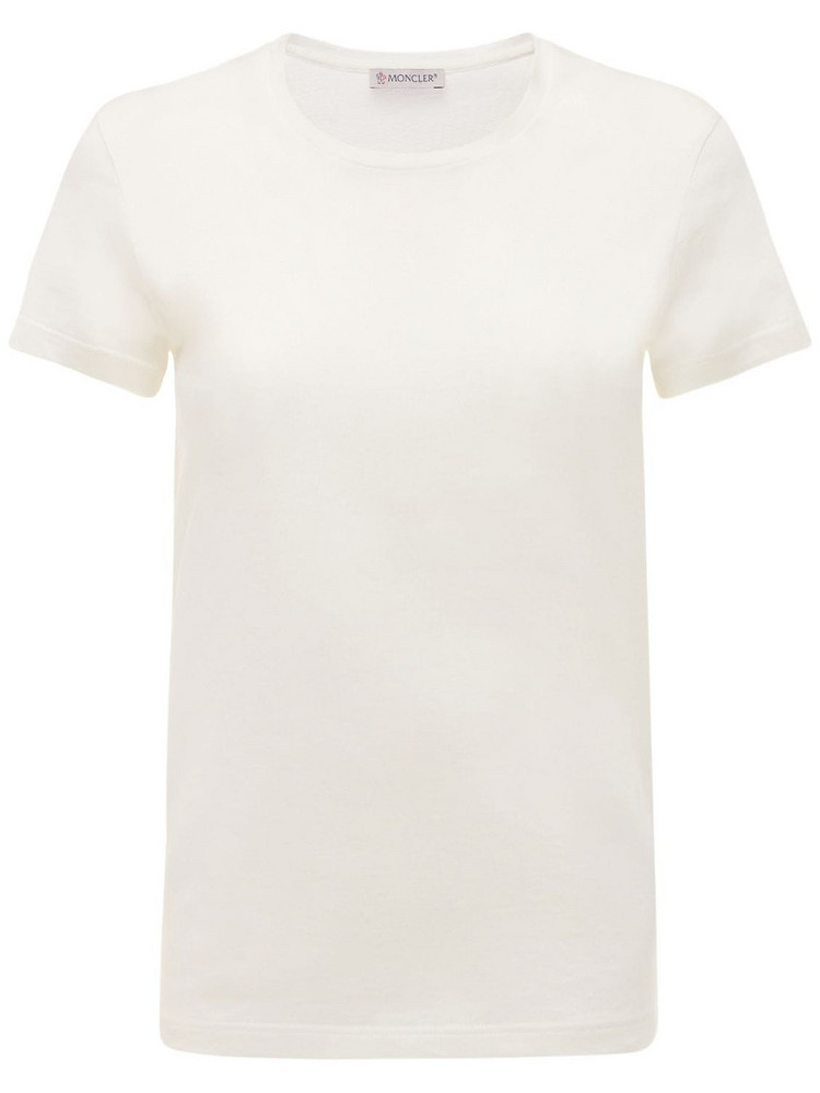 MONCLER Side Logo Cotton Jersey T-shirt in ivory