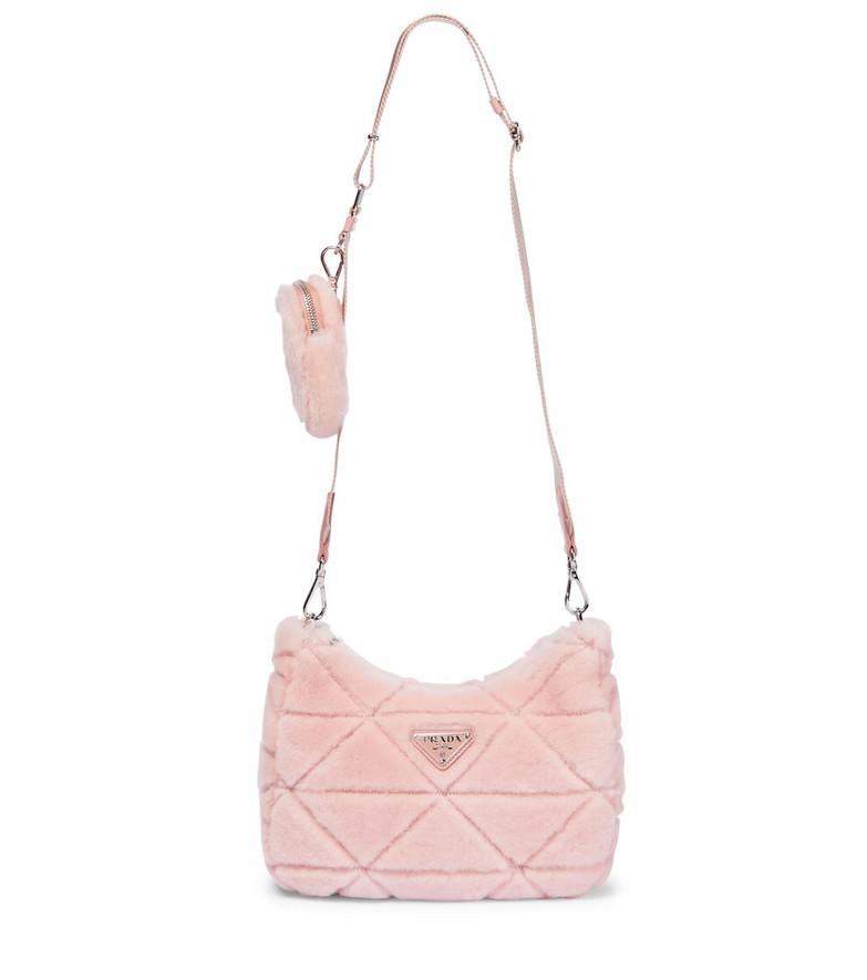 Prada Shearling shoulder bag in pink