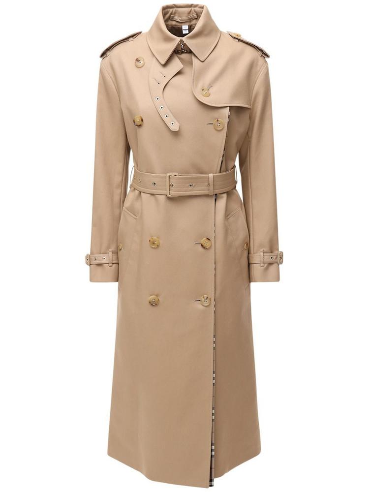 BURBERRY Double Breast Gabardine Trench Coat in beige