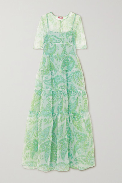 STAUD - Cocoon Tiered Paisley-print Organza Maxi Dress - Green