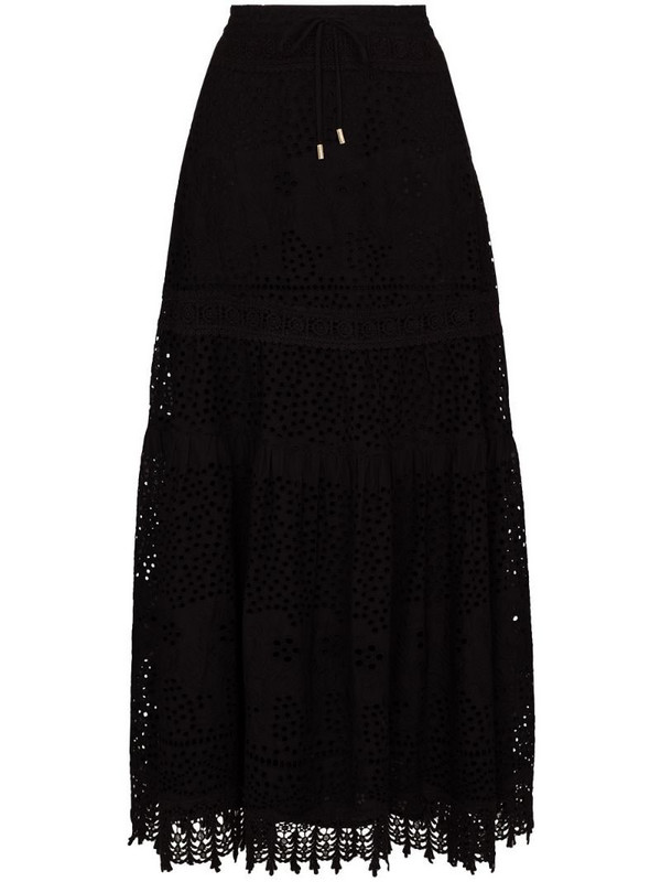 Melissa Odabash Alessia elasticated cotton midi skirt in black