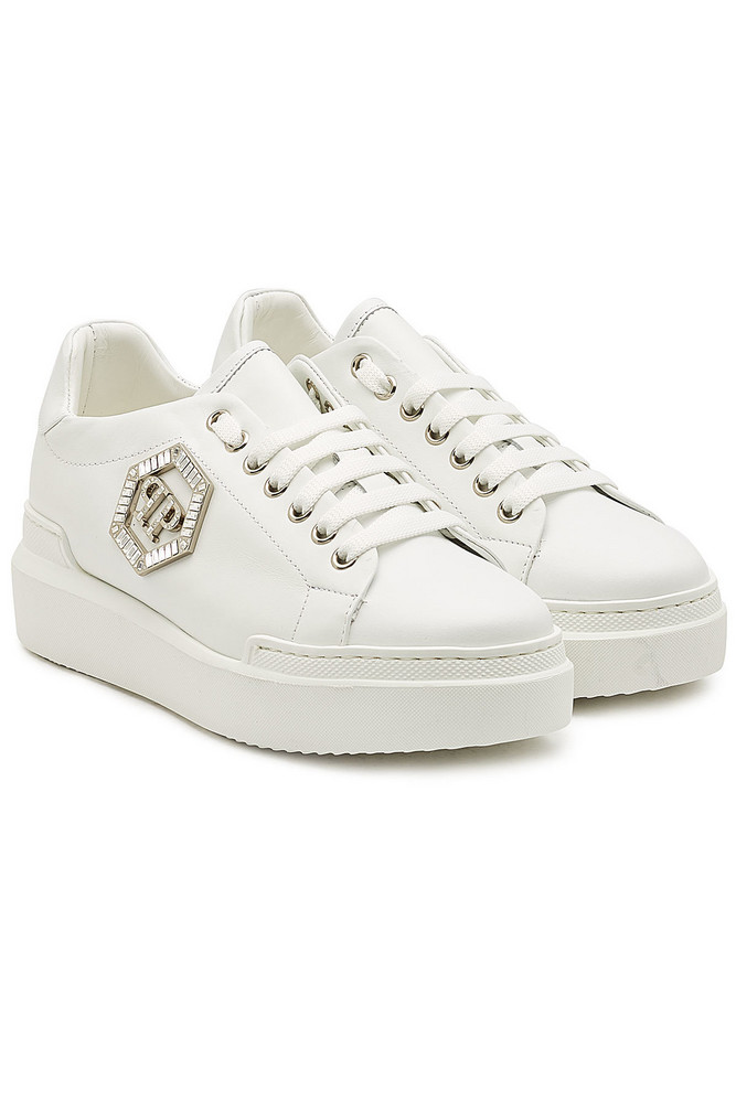 Philipp Plein Leather Sneakers with Crystals  in white
