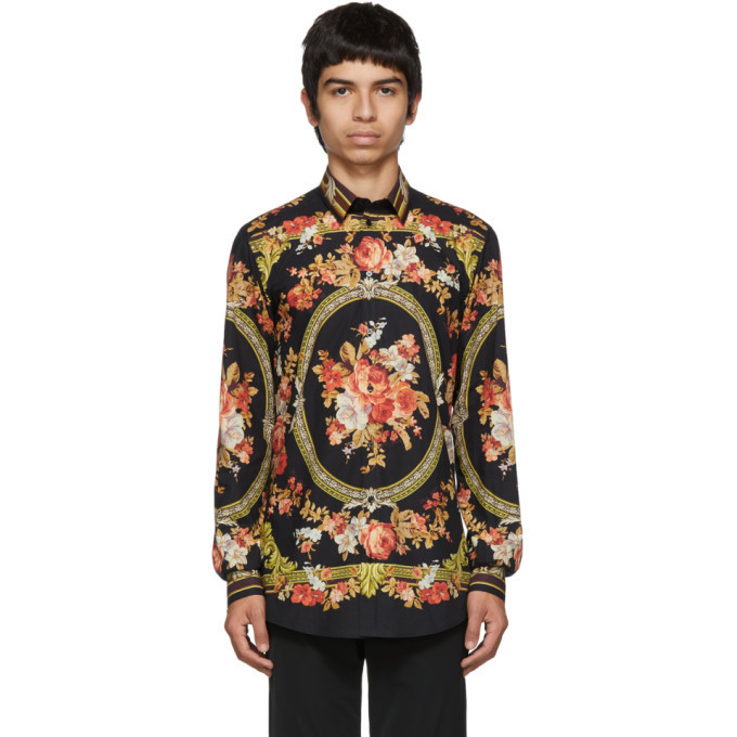 Dolce and Gabbana Dolce & Gabbana Black Flower Print Shirt