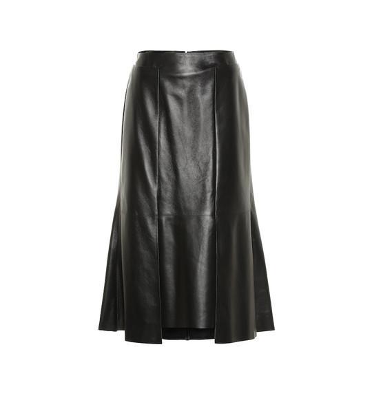 Alexander McQueen Leather midi skirt in black