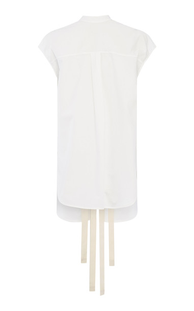 LEE MATHEWS Dwight Cotton Poplin Tie Back T-Shirt in white