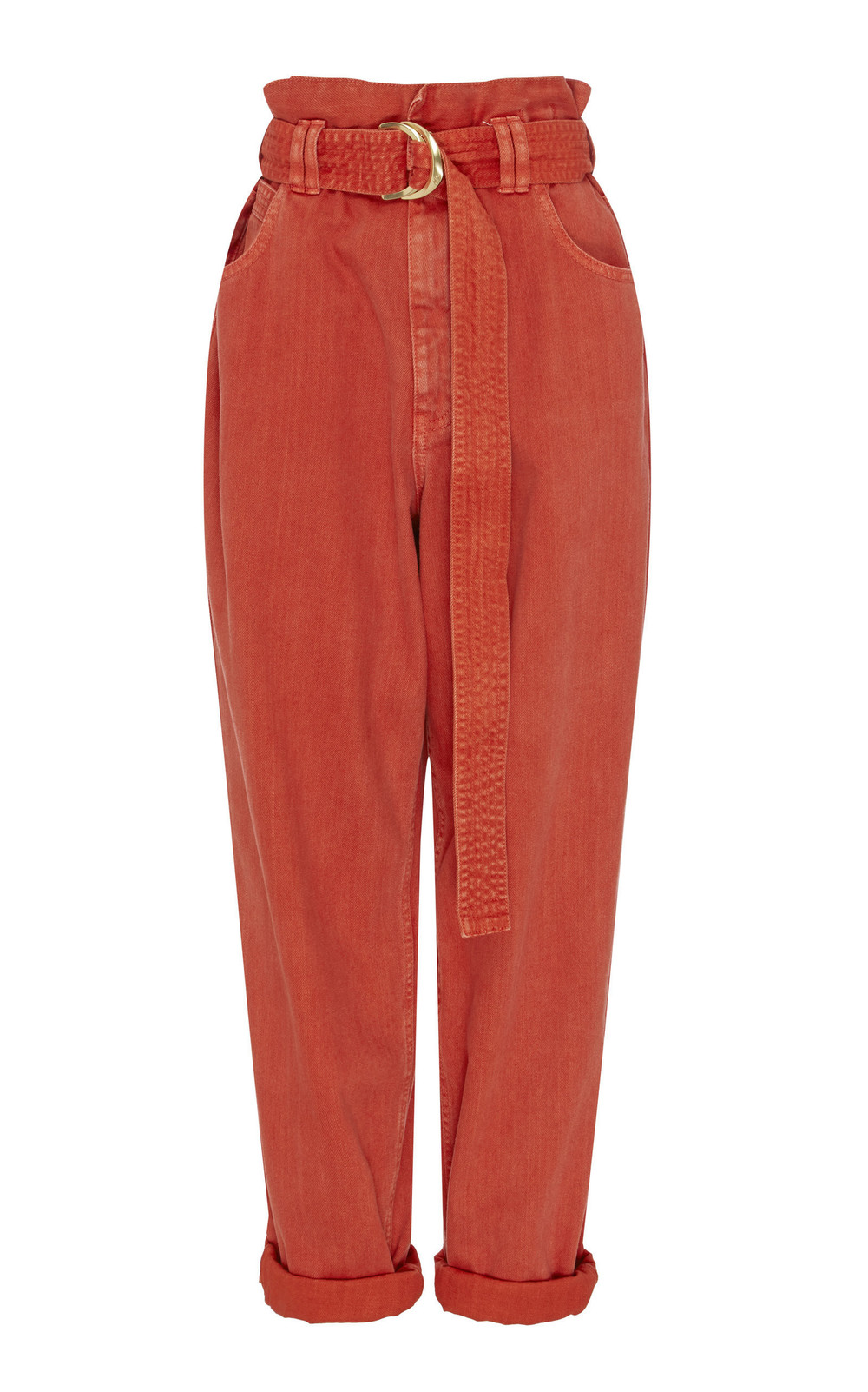 Aje Eucalypt Belted Boyfriend Jeans in red