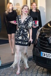 dress,midi dress,fringes,amber heard,celebrity,cannes,silk dress