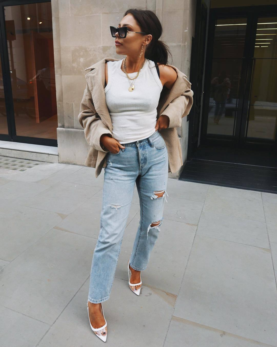 shoes pumps ripped jeans high waisted jeans straight jeans white top tank top jacket