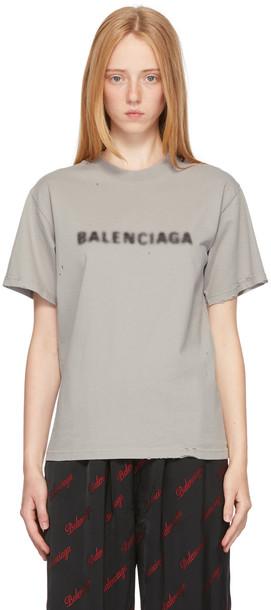 Balenciaga Grey Small Fit Blurry T-Shirt