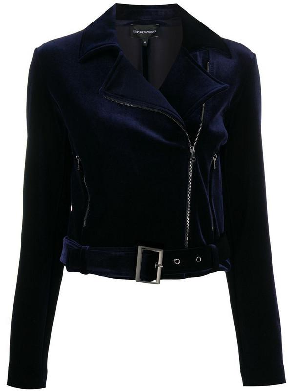 Emporio Armani velvet detail biker jacket in blue