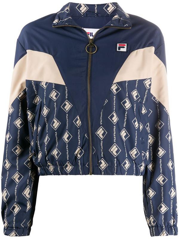 Fila logo-print track jacket in blue