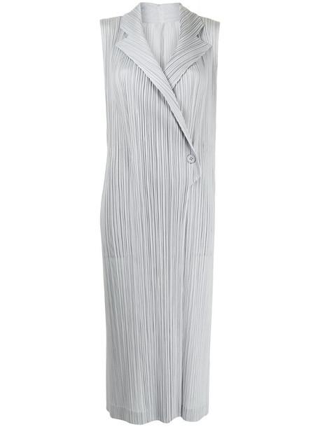 Pleats Please Issey Miyake plissé long vest in grey