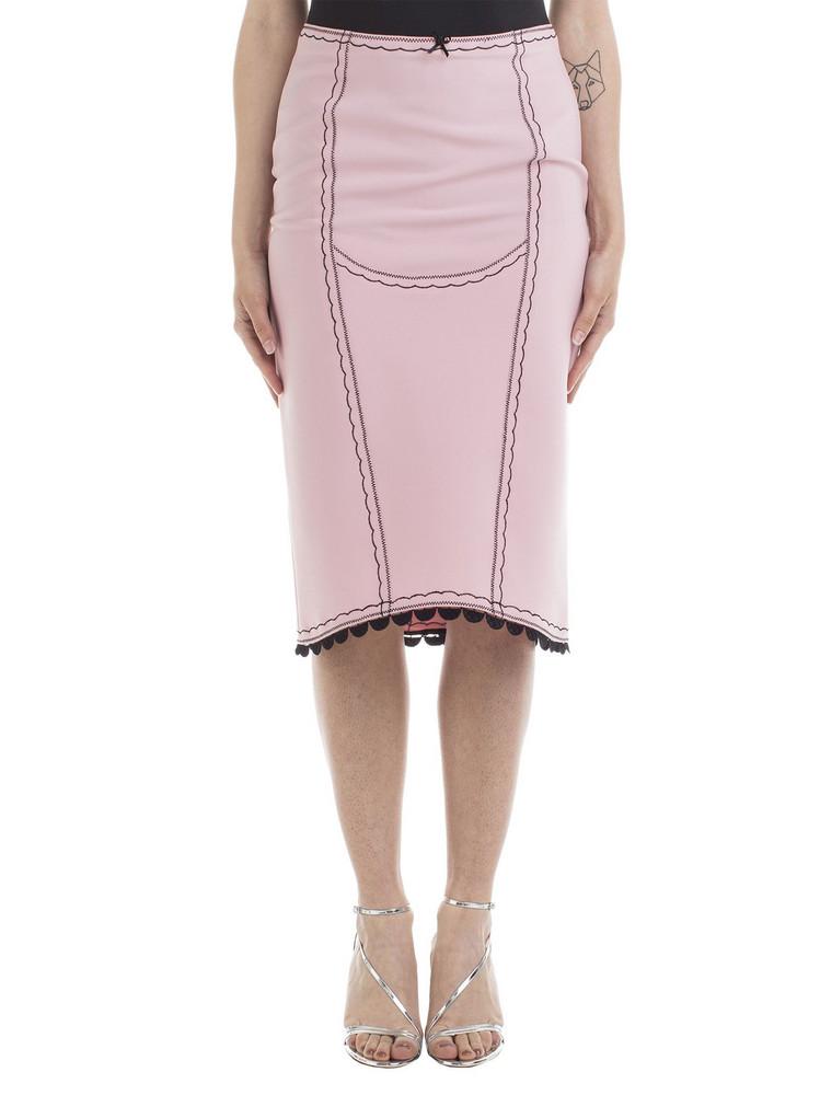 Marco de Vincenzo Marco De Vincenzo Embroidered Skirt in black / pink