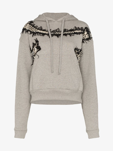 Charles Jeffrey Loverboy appliqué embroidered cotton hoodie in grey