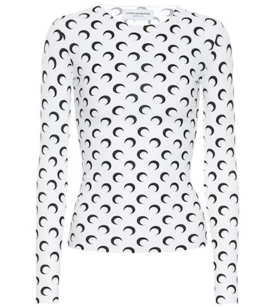 Marine Serre Printed stretch-jersey top in white