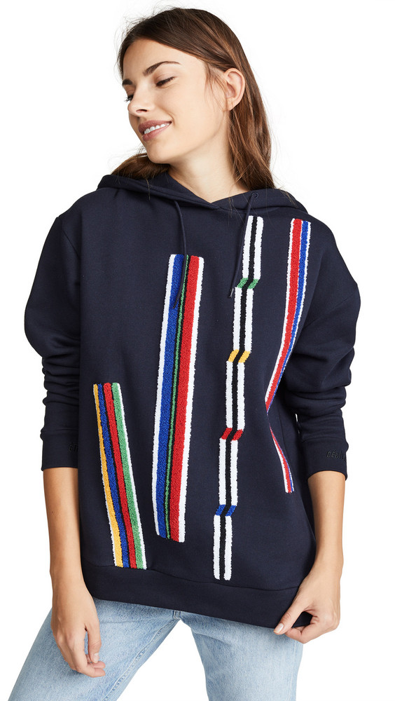 Etre Cecile Chenille Stripes Oversized Hoodie in navy