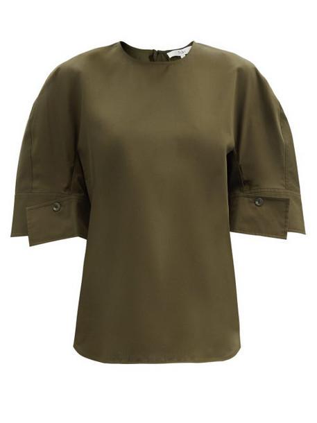 Tibi - Buttoned-cuff Cotton-poplin Top - Womens - Khaki