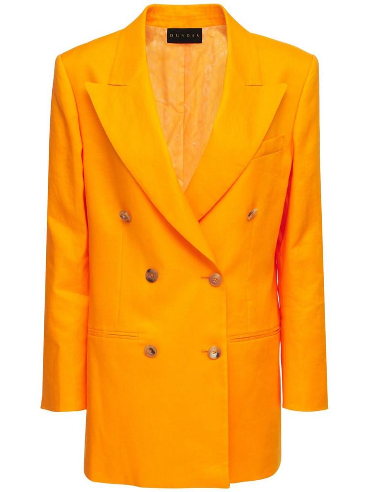 DUNDAS Double Breasted Linen & Ramie Jacket in orange