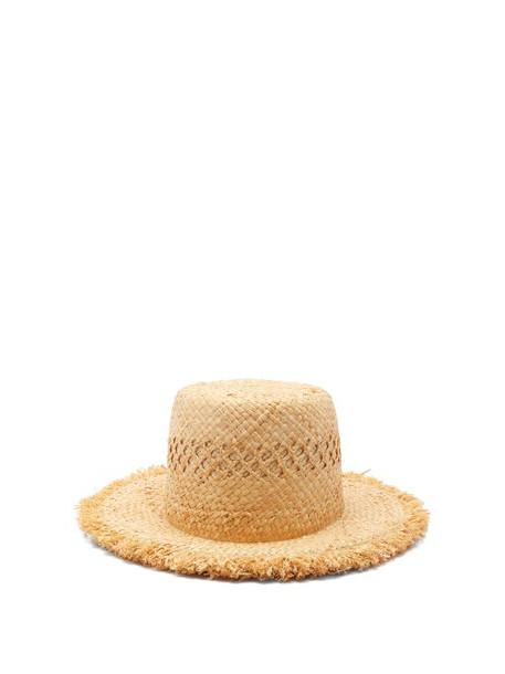 Lola Hats - Honeycomb Fringed Raffia Hat - Womens - Beige