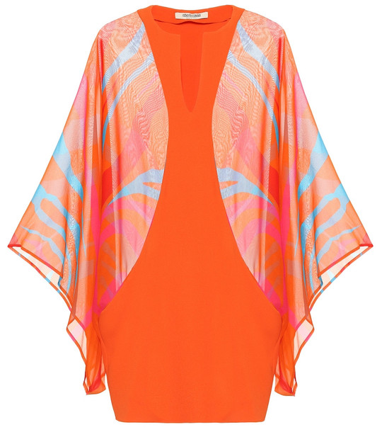Roberto Cavalli Printed silk minidress in orange